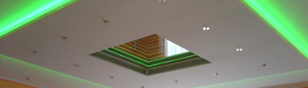 Потолок из гипсокартона с подсветкой по периметру