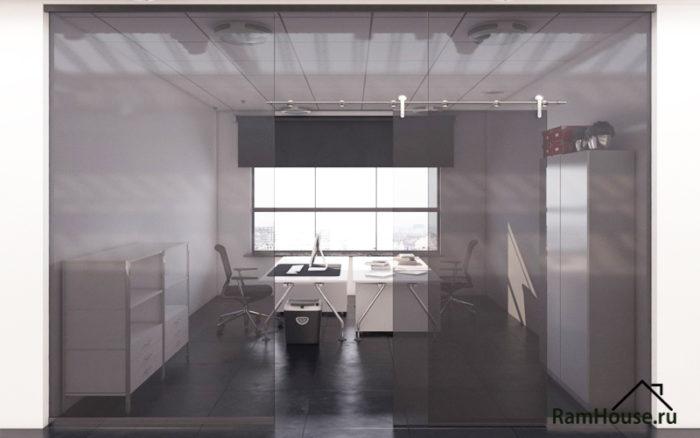 Зонирование комнаты стеклянными перегородками